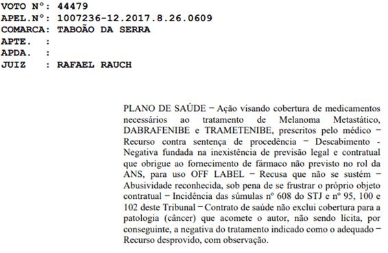 Justiça obriga o fornecimento de dabrafenibe pelo lano de saúde
