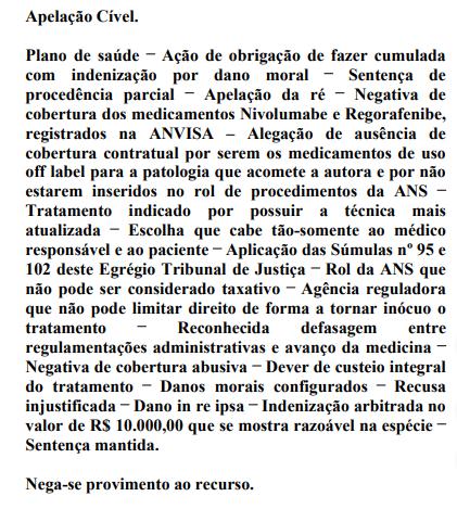 Justiça obriga o custeio de nivolumabe pelo plano de saúde